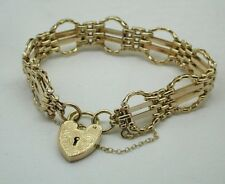 Superb Quality Heavy 9ct Gold Fancy Gate Bracelet With heart Padlock