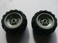 Lego 2 roues gris clair set 8468 8469 / 2 old light gray wheels w/ tires