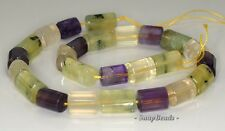 """18X11-11X10MM  MIX QUARTZ GEMSTONE FACETED TRIANGLE TUBE LOOSE BEADS 7.5"""""""
