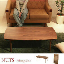Folding Legs Center Coffee Table Natural Walnut Wood TAC-229WAL Azumaya Japan
