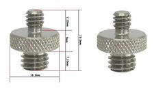 """2 X Dual Metal Adapter Male 1/4"""" to Male 3/8"""" Threaded Screws coupler QR tripod"""