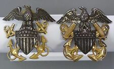VANGUARD AND BANCROFT WWII STERLING SILVER GOLD FILLED NAVY OFFICER HAT INSIGNIA