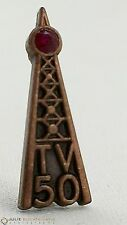 Vintage TV 50 Television Antenna Broadcast Signal Tower Pin Red Rhinestone Alloy