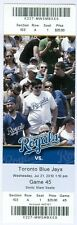 2010 Royals vs Blue Jays Ticket: Zack Greinke win/Brayan Pena career-high 3 hits