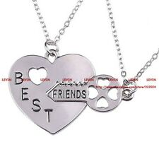 White Gold Plated 2 PIECE 'BEST FRIENDS'  HEART AND KEY Necklace Pendant