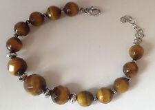 bracelet bijou 1980 perles décroissante oeil de tigre facette couleur argent 553