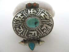 Turquoise Silver Gau Pendant ~ Sterling Coral locket, OM