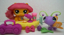 LITTLEST PET SHOP #2576 ORANGE FURRY TAIL KITTY & 2577 BUTTERFLY SET ACCESSORIES