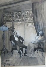 Antique Victorian Watercolor Painting   MOWBRAY PERCY   Couple Smoking