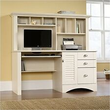 Computer Desk with Hutch Sauder Harbor View Antiqued White Furniture Home Office