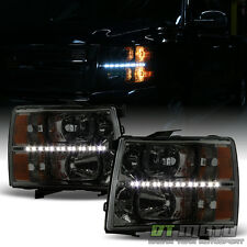 Smoke Lens 2007-2013 Chevy Silverado 1500 2500HD 3500HD LED Headlights Headlamps