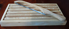 CRUMB CATCHER light tone WOOD CUTTING BOARD & BREAD KNIFE EVEN SLICES lot 2