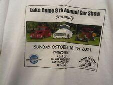 Lake Como white graphic 8th Annual car show 2011 2XL t shirt