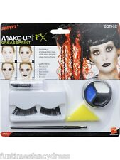 Halloween Dead Doll Gothic Make Up Set Face Paints Lipstick Eyelashes Applicator