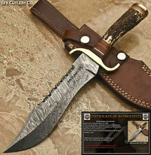 SFK CUTLERY CUSTOM HAND MADE DAMASCUS STEEL HUNTING KNIFE  -STAG ANTLER- FO-1309