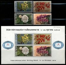 Thailand Scott 707-710,710a Orchids Mint Never Hinged S. Sheet  hinged set