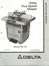Delta RS-15 5 Speed Shaper Instructions Manual & Parts List PDF on CD
