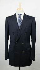 New. BRIONI Penne Blue Twill Wool Double Breasted Sport Coat Size 50/40 L $3995