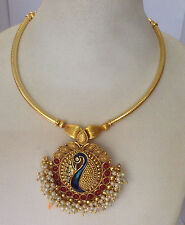 South Indian temple jewelry gold tone peacock design necklace set and earring