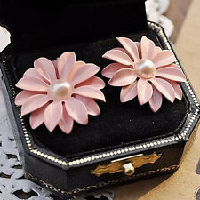 Charm Earrings New Gift Jewelry Chic Free Ship Artificial Pearls Daisy Flower