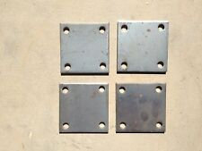 "QTY 4 STEEL BASE PLATES 3/16"" x 4"" x 4"" WITH 7/16"" HOLES PB-0187-04004-E"