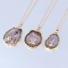 Natural Quartz Druzy Amethyst Raw Geode Pendant Necklace Gold Plated Jewelry
