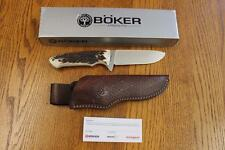 BRAND NEW Boker 02BA545HH Fixed Blade Hunting Knife with Brown Leather Sheath