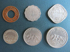 6 COINS OF BRITISH INDIA ISSUED IN 1947 - ONE PICE,ONE ANNA,TWO ANNA
