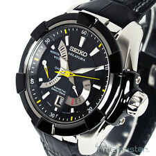 Seiko VELATURA KINETIC DIRECT DRIVE Cinturino in Pelle Nera srh015p2 srh015