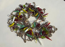 "Vintage GRIPOX Poured Glass Fruit Dangles Couture Necklace 24 1/2"" long"