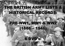 BRITISH ARMY LISTS ON 6 DVDs - WW1 WW2 + MORE! (1661-1946) WAR MEDAL RESEARCH