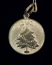 ANTIQUE CHARM Pendant Sterling Silver Round CHRISTMAS TREE One Side ENGRAVEABLE