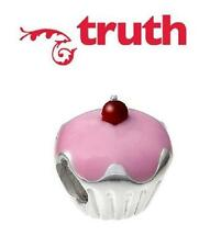Genuine TRUTH PK 925 sterling silver enamel PINK CHERRY CUPCAKE charm bead