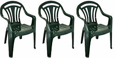 3x Plastic Low Back Garden Chair Lightweight Armchair Home Camping Fishing Picnc
