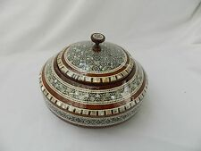 """Egyptian Large Mother of Pearl Inlaid Round Wood Handmade Box 7"""" Diameter #215"""
