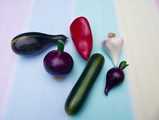 6 Mexican Artisan Hand Carved HandMade Wooden Vegetables Zucchini, Pepper, Onion