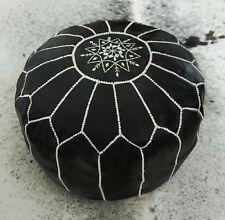 Stunning Moroccan Leather Ottoman Pouffe Pouf Footstool In Black