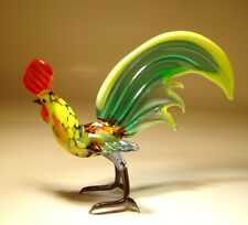 "Blown Glass Figurine ""Murano"" Art Bird Chicken ROOSTER with Green Tail"