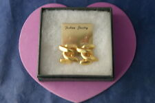 Beautiful Gold Color Earrings Modern Design Clip On  2.5 Cm.Long Without  Box