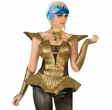 Futuristic Gold Corset Outer Space 80s Retro Disco Women Costume Accessory Black