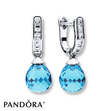 Authentic Pandora 925 Silver Frosted Droplet Earrings Sky Blue Crystal 802105700