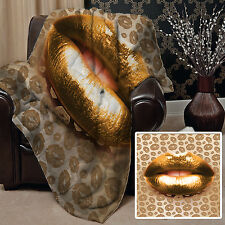 GOLD LIPPEN DESIGN WEICH FLEECE DECKE HÜLLE BETT ZUHAUSE SOFA L&S PRINTS