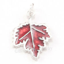 MAPLE LEAF 925 Sterling Silver Thanksgiving Fall AUTUMN ENAMEL Pendant Charm