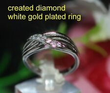 CZ crossover ring White GP ring size M 6.5