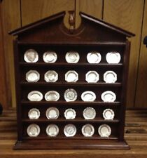 Antique English 25 Silver Miniature Plate Collection Complete Set Franklin Mint