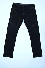 9.2 by Carlo Chionna Donna Nero Denim Jeans Dritti Stretch sz54 W38 UK20 FAB