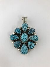Native American Sterling Silver Navajo Handmade Spiderweb King Pendant