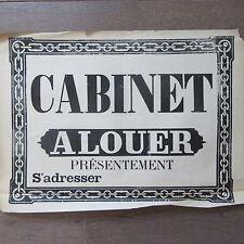 AFFICHE ANCIENNE 1810 CABINET A LOUER MAISON IMMOBILIER IMPRIMERIE