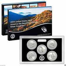 USA 2014 QUARTERS SILVER PROOF SET PARQUES NACIONALES 5  MONEDAS DE PLATA