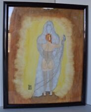 Outsider Art Grim Reaper Dancing With A Woman Nude Painting Framed Signed LB